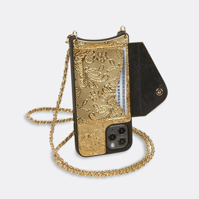 【iPhone 12 Pro/12】LILY SIDE SLOT GOLD LACE リリー サイド スロット ゴールド レース