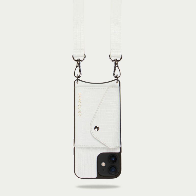 【iPhone 12mini】HAILEY SIDE SLOT LIZARD WHITE ヘイリー サイド スロット リザード ホワイト